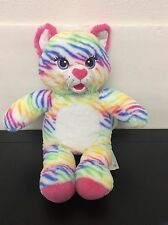 "Build a Bear Rainbow Stripes Tiger Kitty Plush Cat 17"" Rare Fantastic"
