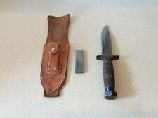 VINTAGE LARGE 9-3/8 in WW2 OR LATER JAPAN SHEATH KNIFE W/SHEATH AND STONE