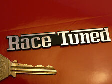 "RACE TUNED Self Adhesive Car BADGE 3.5"" Rally Racing Classic Sports Motor Spec"