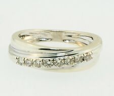 9ct White Gold Crossover Diamond (0.15ct) Eternity Band (Size I) 2-5mm Wide