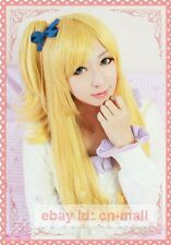 Fairy Tail Lucy Heartfilia Long Golden yellow Anime Cosplay Wig + free wig cap