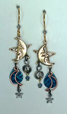 SILVER FOREST BLUE STAR- MOON  18K ON SURGICAL STEEL DROP DANGLE  HOOK EARRING