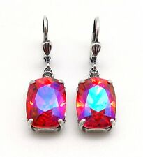 CATHERINE POPESCO NEW Fuchsia AB Rectangle Swarovski Silver Earrings 1 1/4""