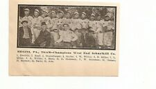Hegins Pennsylvania West End Schuykill Company 1909 Team Picture Baseball