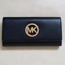 NEW Michael Kors Black Fulton Gold Flap Continental Leather Wallet