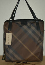 NWT BURBERRY $575 WOMENS GREY NYLON NOVA CHECK OVERNIGHT PURSE TOTE BAG