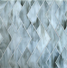 CHEVRON GREY GLASS TILE MOSAICS BACKSPLASH SHOWER WALL (SOLD BY THE SHEET)