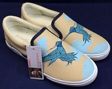 Bucketfeet Aerialist Shoes Low Top Canvas Slip On Womens Size 5 Khaki Blue