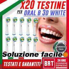 20 TESTINE DI RICAMBIO PRO BRIGHT 3D WHITE ORAL B SPAZZOLINO ELETTRICO 24H! 4 8