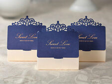 50x Blue Wedding Party Favors Bags Laser Cut Paper Candy Gifts Boxes Sweets Box