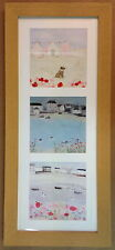 X3 HANNAH COLE MINI PRINT PICTURES SEASIDE COASTAL POPPIES BEACH HUTS HARBOUR