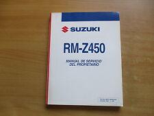 Manual de servicio español del propietario Suzuki RM-z450 k8 año del modelo 2008