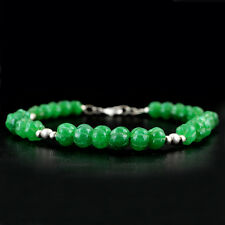 GENUINE 106.60 CTS EARTH MINED RICH GREEN EMERALD ROUND CARVED BEADS BRACELET