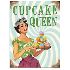 Cupcake Queen, Kitchen Baking, Retro Funny 50s Pin-up Girl Medium Metal/Tin Sign