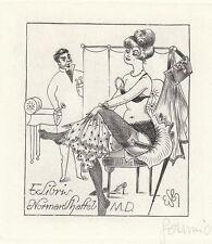 Erotisches exlibris Eugen Schmidt / Dr. Schaftel MD Erotic Medical Engraving c2