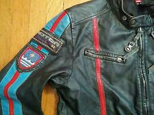DIESEL HOJE LEATHER CAFE RACER MOTORCYCLE JACKET L worn by DRAKE & JOSH * BIKER