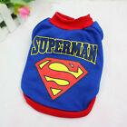 Pet Cat Dog Puppy Clothes Costumes Apparel Superman T Shirt for Small Dogs Blue