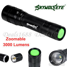 3000 Lumens 3 Modes CREE XML T6 LED 18650 Flashlight Zoomable Torch Lamp Light