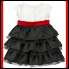 NWT 3-6 Gymboree MERRY OCCASIONS Black Ruffle TIERED FORMAL DRESS red BOW cream