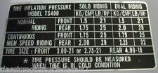 SUZUKI TS400 TYRE PRESSURE CAUTION LABEL