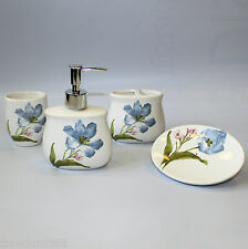 Four Piece Ceramic Bath Set - Blue Lilies
