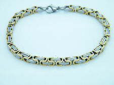 MEN'S WOMEN'S CHUNKY LINK CHAIN BYZANTINE STAINLESS STEEL BRACELET GOLD/SILVER