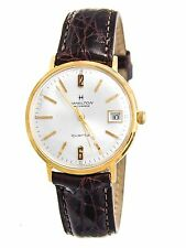 Hamilton Masterpiece 14k Gold Case Crocodile Leather Band Quartz Watch