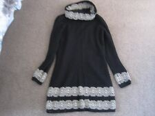 MARKS & SPENCER PER UNA BLACK JUMPER DRESS MOHAIR MIX WITH GOLD DETAIL UK 10