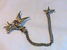 Vintage Silver Tone Double Brooch with Rhinestones Birds connected with Chain