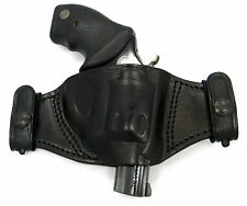 TAGUA BLACK LEATHER DUAL SNAP-ON QUICK DRAW OWB BELT HOLSTER- TAURUS 85 REVOLVER