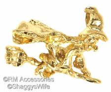 Witch Charm Flying on Broom Stick Halloween Pendant EP 24k Gold Plated Guarantee