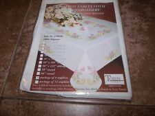 "Tobin Stamped Cross Stitch Napkins FLORAL SCROLL  17"" Pack of 4"