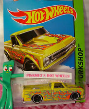 Case L 2015 Hot Wheels '67 CHEVY C10 #208☆Yellow truck;Orange/Blue flame☆Heat