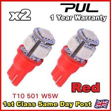 2 X 5 SMD LED 501 T10 W5W PUSH WEDGE 360 HID RED SIDE LIGHT BULB