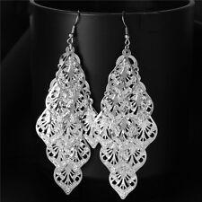 Sequin Gold &Silver Leaf Paillette Drop Dangle Earrings Jewelry
