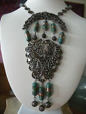 Vintage Silver Tone Venetian Foil Glass Bead Drop Long Bib Breastplate Necklace