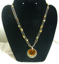 "Vintage Costume Jewelry, 19"" Double Strand Beaded Necklace w/Overlaying Pendants"
