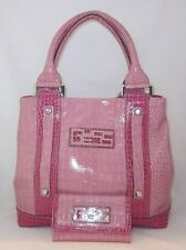 GUESS Walas Logo Bag Purse Handbag Large Tote Sac Wallet Set Pink White Multi