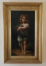 19th C. Antique Oil Painting Portrait of Young Girl William Adolphe Bouguereau ?