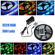 5M 3528 RGB SMD Flexible LED Strip Light 24Key Remote 2A Power Non-Waterproof