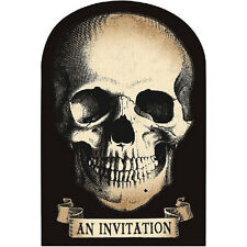8 Happy Halloween Poison Skulls Pirate Party Invitations plus Envelopes
