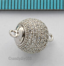 1x RHODIUM plated STERLING SILVER CZ ROUND BALL MAGNETIC CLASP 10mm #2659