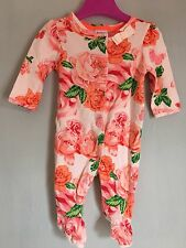 Brand New Without Tags Baby Girls Designer Ted Baker Orange Rose Sleepsuit 0-3m