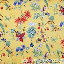 BonEful Fabric FQ Cotton Quilt Yellow Blue Wild Flower Butterfly Garden Daisy Sm