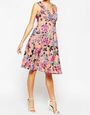 Maternity Scuba Skater Dress In Bright Peonie Print - UK 12