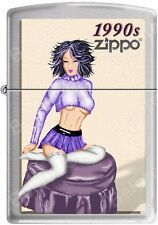 Zippo Windy Vintage Nose Art Blue Top Pinup 1990 Era Satin Chrome Lighter NEW