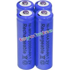 4x AA battery batteries Bulk Nickel Hydride Rechargeable NI-MH 3000mAh 1.2V Blue