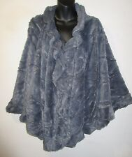 Faux Fur Cape Fits M L XL 1X 2X 3X Plus Wrap Shawl Gray Silky Cloak Poncho NWT