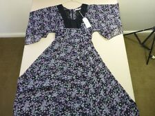 056 WOMENS NWT WRANGLER BLACK FLORAL PRINT S/S LONG DRESS 8 $120.