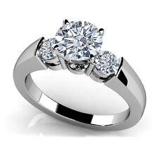 0.75 Carat White Round Diamond Three Stone Engagement Ring in 14K WG ASAAR